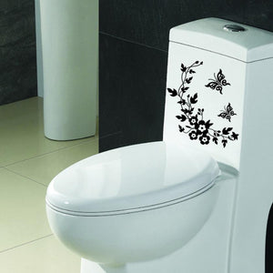 Flower branch with beautiful butterflies toilet Decal Art - wall decals home decor