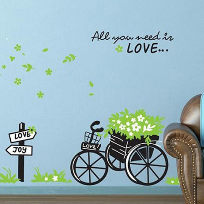 All you need is love Fresh Nature Green Bicycle Wall Sticker Decal - wall decals home decor
