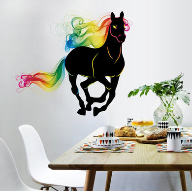 Running Black horse with colourful hair wall decal