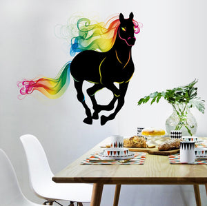 Running Black horse with colourful hair wall decal - wall decals home decor