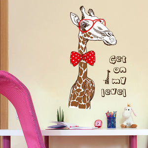 Sophisticated Giraffe with glasses and bow tie - quote wall decal