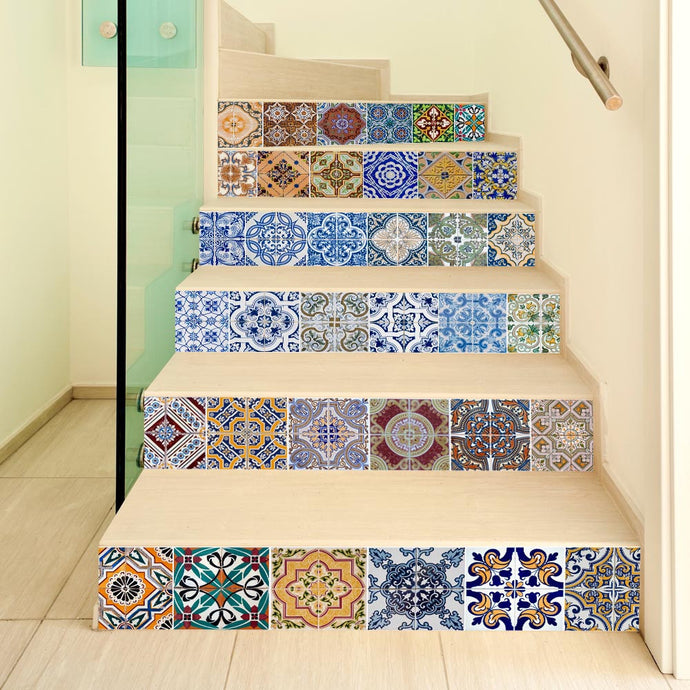 Ceramic Tiles Patterns for Steps and stairs decal for Home decor - wall decals home decor