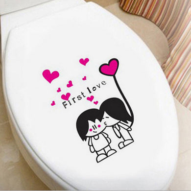 Girl kissing boy Toilet decal for bathroom decor - wall decals home decor