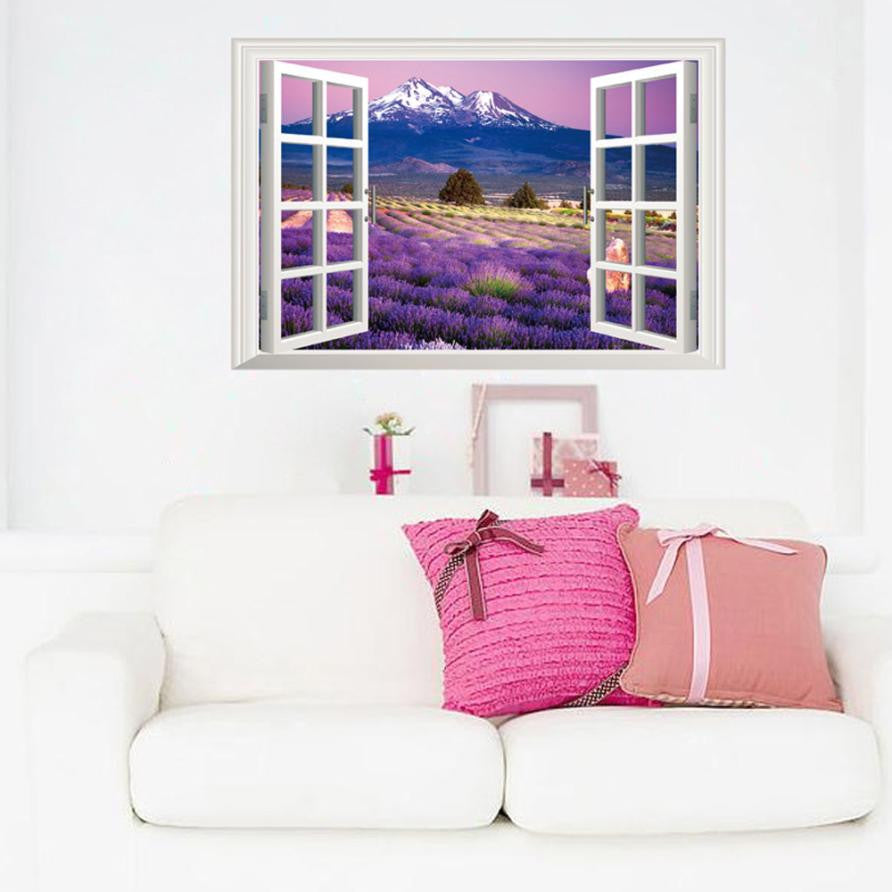 3D Lavender field Wall Sticker Wall Decal for home decor