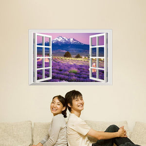 3D Lavender field Wall Sticker Wall Decal for home decor - wall decals home decor
