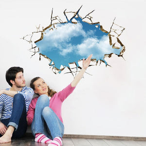 3D blue sky Wall Sticker decal - wall decals home decor