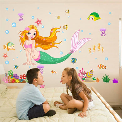 Cute Mermaid with sea life Wall decal for Kids Bedroom - wall decals home decor