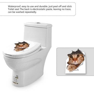 3D Cat or Dog Toilet Stickers Decal Hole View - wall decals home decor