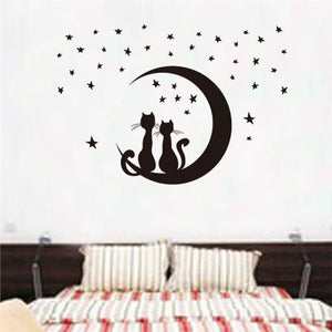 Two Cats Sitting on Moon Enjoying Stars Moonlight Wall Sticker decal - wall decals home decor