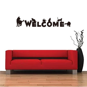 WELCOME quote with Black Cats Wall Sticker decal for decor - wall decals home decor