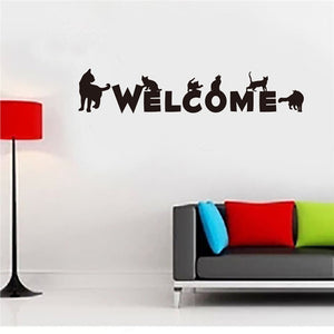 WELCOME Word with Black Cats Wall Sticker Removable decal - wall decals home decor