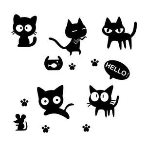 Lovely Black Cats Wall decal Sticker for Kids Bedroom - wall decals home decor