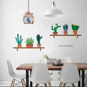 I love Plants on a shelf with bird cage wall sticker decal for home decor - wall decals home decor