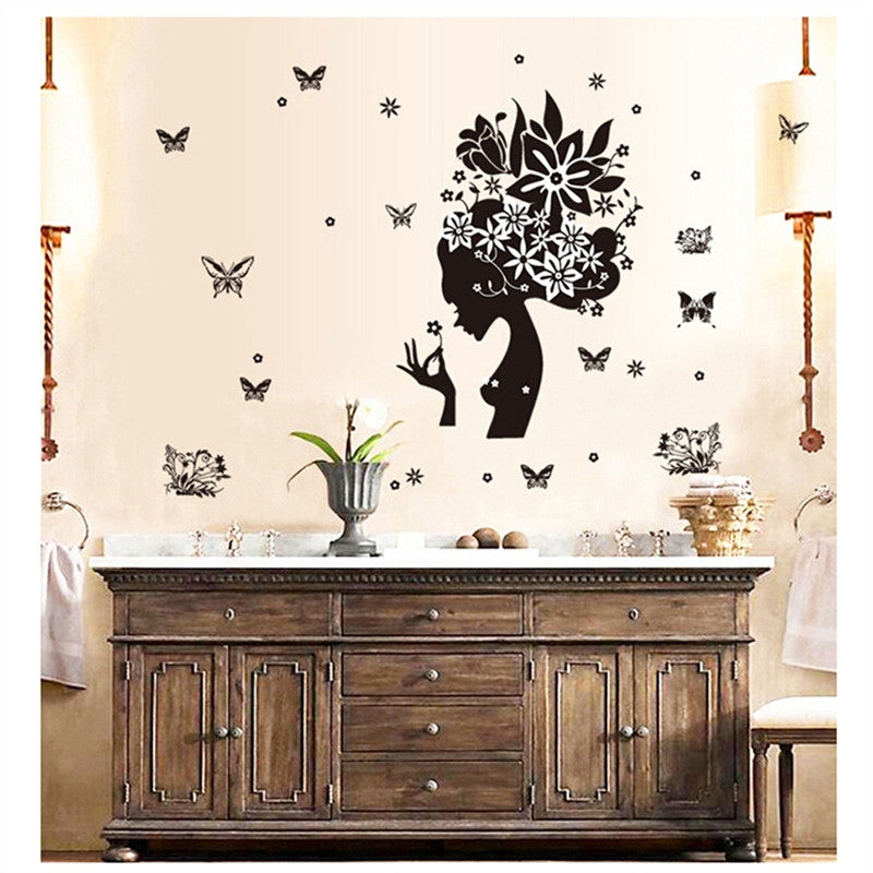 ... Girl Black Flowers Butterflies wall decal art for home decor - wall decals home decor  sc 1 st  Wall decal & Girl Black Flowers Butterflies wall decal art for home decor