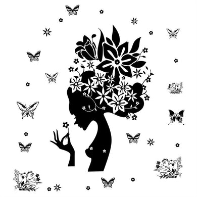 Girl Black Flowers Butterflies wall decal art for home decor - wall decals home decor