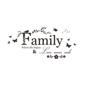 Family Where life begins Wall Stickers decal home decor - wall decals home decor