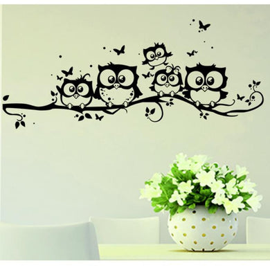 Cute owls standing on tree branch wall decal Kids bedroom - wall decals home decor