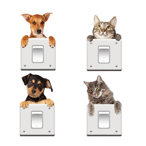 3D Cat Dog Switch Stickers decoration Animal Decals - wall decals home decor