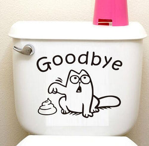 Goodbye cat toilet seat sticker bathroom decal