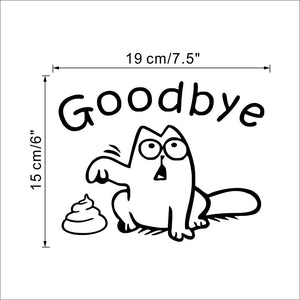 Goodbye cat toilet seat sticker bathroom decal - wall decals home decor