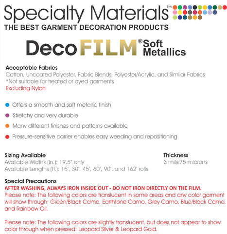 DecoFilm Soft Metallics HTV (Stretchy)