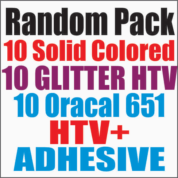Random 30 Pack. 10 Solid Colored HTV, 10 Glitter HTV, 10 Oracal 651 - CraftCutterSupply.com