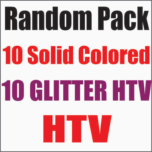 Random 20 pack of HTV.  10 Solid Colored HTV and 10 Glitter HTV - CraftCutterSupply.com