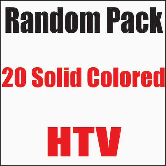 Random 20 pack of Solid Colored Heat Transfer Vinyl 12x15 Sheets - CraftCutterSupply.com