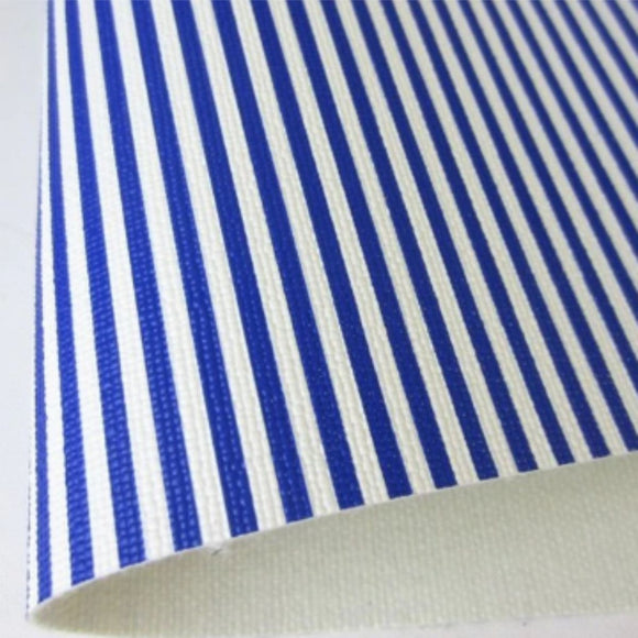 Blue And White Striped Small Fabric Synthetic Faux PU Leather 11.75in x 12in Sheets - CraftCutterSupply.com