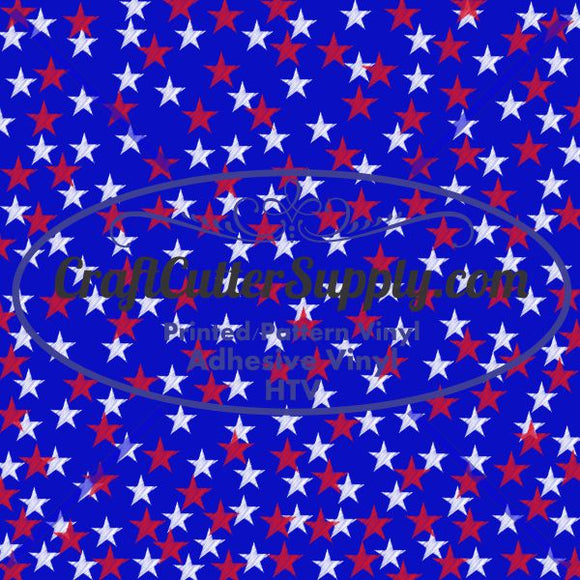 Blue With Red And White Stars 12x12 - CraftCutterSupply.com