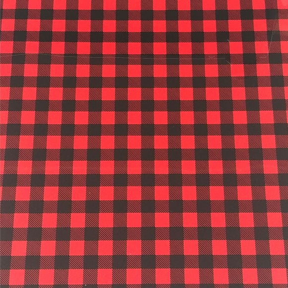 Specialty PSV™ Fashion Patterns-Buffalo Plaid Red 12in x 15in Sheet (Permanent Adhesive Pattern Vinyl)