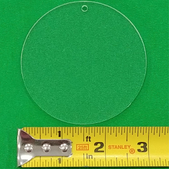 Acrylic Circle Shape With Hole Approx 3 inch wide - CraftCutterSupply.com