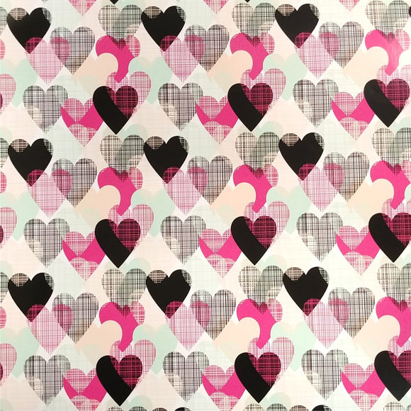 Specialty PSV™ Fashion Patterns-Colorful Hearts 12in x 15in Sheet (Permanent Adhesive Pattern Vinyl)