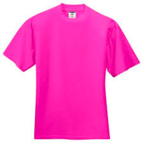 Youth Jerzees Brand 5.6oz 50/50 T-Shirt Color-Cyber Pink - CraftCutterSupply.com