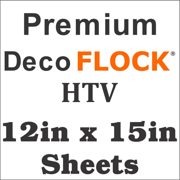 Premium DecoFlock® HTV 12in x 15in - Wholesale Bulk Discount
