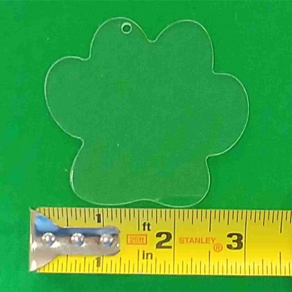 Acrylic Dog Paw Shape With Hole Approx 3 inch wide - CraftCutterSupply.com