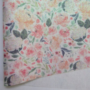 Flowers 1 Glitter Fabric Synthetic Faux PU Leather 11.75in x 12in Sheets - CraftCutterSupply.com