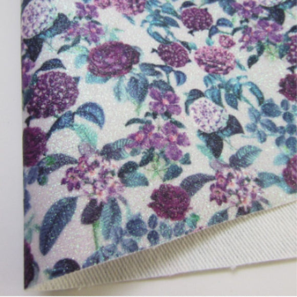 Flowers 2 Glitter Fabric Synthetic Faux PU Leather 11.75in x 12in Sheets