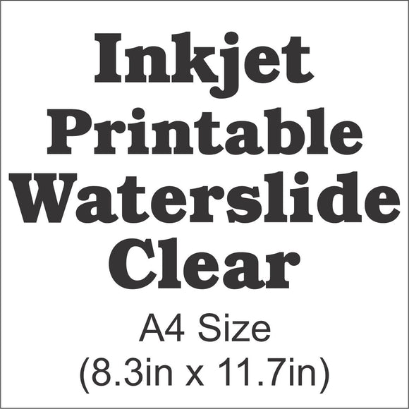 InkJet Waterslide Decal Paper-Clear-A4 Size-8.3in x 11.7in - CraftCutterSupply.com