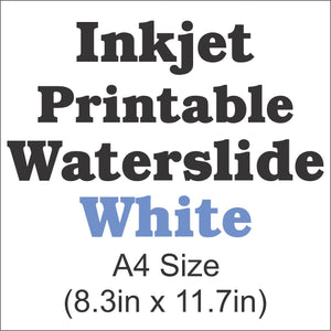 InkJet Waterslide Decal Paper-White-A4 Size-8.3in x 11.7in - CraftCutterSupply.com