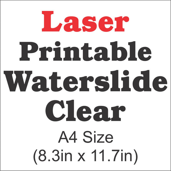 Laser Waterslide Decal Paper-Clear-A4 Size-8.3in x 11.7in - CraftCutterSupply.com