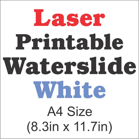 Laser Waterslide Decal Paper-White-A4 Size-8.3in x 11.7in - CraftCutterSupply.com