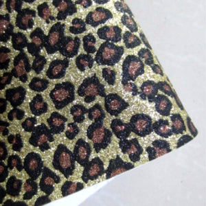 Glitter Leopard Fabric Synthetic Faux PU Leather 11.75in x 12in Sheets - CraftCutterSupply.com