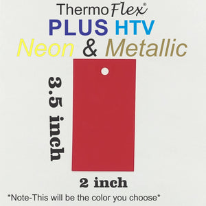ThermoFlex® Plus HTV 2in x 3.5in Labeled Color Swatch **Sample Ring Size*** (Neon And Metallic Colors) - CraftCutterSupply.com