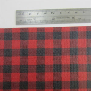 "Red And Black Plaid ""Buffalo Plaid"" Fabric Synthetic Faux PU Leather 11.75in x 12in Sheets - CraftCutterSupply.com"