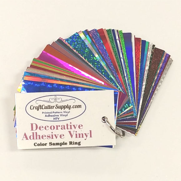 Decorative Adhesive Vinyl Sample Ring (Chrome, Rainbow, Holographic, etc)