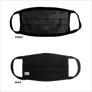 USA Made Face Mask Pleated-Black Camo - CraftCutterSupply.com