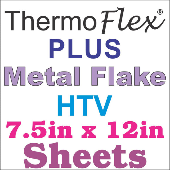 ThermoFlex® Plus Metal Flake HTV 7.5in x 12in Sheets - CraftCutterSupply.com