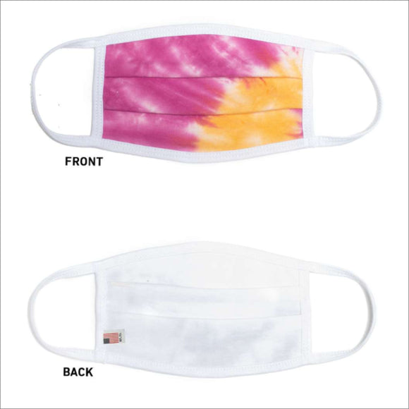 USA Made Face Mask Pleated-Tie Dyed Pink/Orange - CraftCutterSupply.com