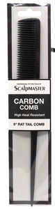 Scalpmaster 9 In. Carbon Rattail Comb. Heat Resistant Fine Teeth Comb